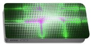 Green Aluminum Sparkling Surface. Metallic Geometric Abstract Fashion Background. Portable Battery Charger