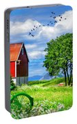 Green Bike On The Farm Portable Battery Charger