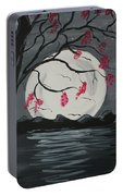 Grey Moon With Red Flowers Portable Battery Charger