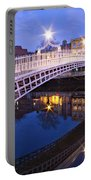 Ha'penny Bridge At Blue Hour Portable Battery Charger by Barry O Carroll