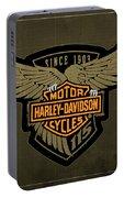 Harley Davidson Old Vintage Logo Fuel Tank Motorcycle Brown Background Portable Battery Charger