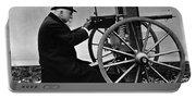 Hiram Maxim Firing His Maxim Machine Gun - 1884 Portable Battery Charger