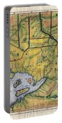 Historical Map Hand Painted Lake Superior Norhern Minnesota Boundary Waters Captain Carver Portable Battery Charger