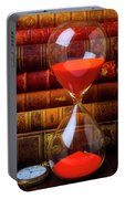Hourglass And Old Books Portable Battery Charger