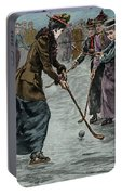 Ice Hockey  Ladies Match On The Lake In Wimbledon Park Portable Battery Charger