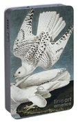 Iceland Falcon Or Jer Falcon By Audubon Portable Battery Charger