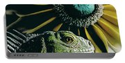 Iguana And Sunflower Portable Battery Charger