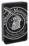 Indian Motorcycle Old Vintage Logo Blueprint Background Portable Battery Charger