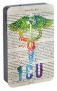 Intensive Care Unit Gift Idea With Caduceus Illustration 03 Portable Battery Charger