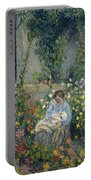 Julie And Ludovic-rodolphe Pissarro Among The Flowers, 1879 Portable Battery Charger