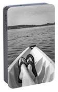 Kayaking In Black And White Portable Battery Charger