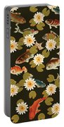 Koi And Lily Pads In Dark Water Portable Battery Charger