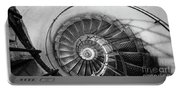 Lblack And White View Of Spiral Stairs Inside The Arch De Triump Portable Battery Charger