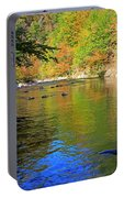 Little River In Autumn In Smoky Mountains National Park Portable Battery Charger