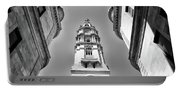 Looking Up - City Hall Court Yard In Black And White Portable Battery Charger