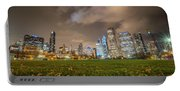 Low Angle Picture Of Downtown Chicago Skyline During Winter Nigh Portable Battery Charger