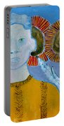 Man With Sunflowers Portable Battery Charger