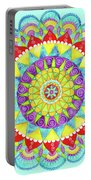 Mandala Of Many Colors On Turquoise Portable Battery Charger