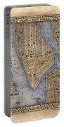 Manhattan New York Antique Map Brooklyn Hand Painted Portable Battery Charger