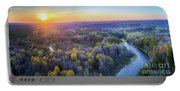 Manistee River Sunset Aerial Portable Battery Charger