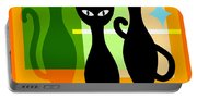 Mid Century Modern Abstract Mcm Bowling Alley Cats 20190113 Square Portable Battery Charger