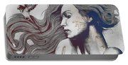 Monument - Red 'n Blue - Sleeping Beauty, Woman With Skyline Tattoo And Bird Portable Battery Charger