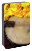 Moody Banjo And Yellow Roses Portable Battery Charger