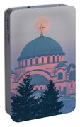 Moon In The Cross Of The Magnificent St. Sava Temple In Belgrade Portable Battery Charger