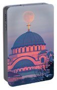 Moon On Top Of The Cross Of The Magnificent St. Sava Temple In Belgrade Portable Battery Charger
