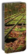 Mossy Train Track In Fall Portable Battery Charger