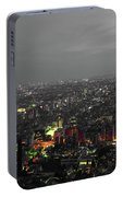 Mostly Black And White Tokyo Skyline At Night With Vibrant Selective Colors Portable Battery Charger