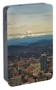 Mount Hood View Over Portland Cityscape Panorama Portable Battery Charger