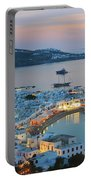 Mykonos Town At Sunset Mykonos Cyclades Greece  Portable Battery Charger