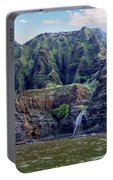 Napali Cave And Waterfall Portable Battery Charger