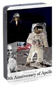 Nasa 50th Anniversary Of The Apollo 11 Lunar Landing By Artist Todd Krasovetz Portable Battery Charger