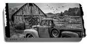 Old Truck At The Barn Bordered Black And White Portable Battery Charger