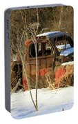 Old Truck In Winter Snow In Hope Alaska Portable Battery Charger