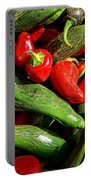 Organic Red And Green Peppers Portable Battery Charger