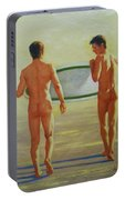 Original  Man Body Oil Painting  Gay Art -two Male Nude By The Sea#16-2-3-02 Portable Battery Charger