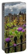 Overlooking The Train Station In Edinburgh Portable Battery Charger