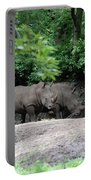Pair Of Rhinos Standing In The Shade Of Trees Portable Battery Charger