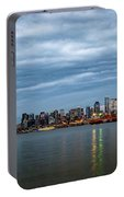 Panorama Of Seattle Skyline At Night With Storm Clouds Portable Battery Charger