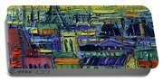 Paris Rooftops View From Centre Pompidou - Textural Impressionist Stylized Cityscape Mona Edulesco Portable Battery Charger