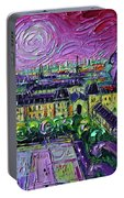 Paris View With Gargoyles Diptych Oil Painting Right Panel Portable Battery Charger