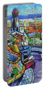 Park Guell Enchanted Visitors - Impasto Palette Knife Stylized Cityscape Portable Battery Charger