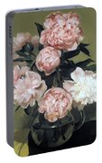 Peonies Front And Center Portable Battery Charger