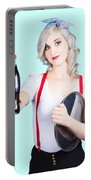 Pin-up Girl Holding Soft Drink Bottle Portable Battery Charger