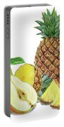 Pineapple Pear Watercolor Food Illustration  Portable Battery Charger