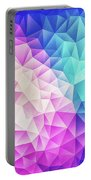 Pink Ice Blue  Abstract Polygon Crystal Cubism Low Poly Triangle Design Portable Battery Charger