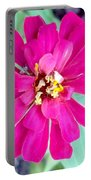Pink Zinnia With Spider Portable Battery Charger